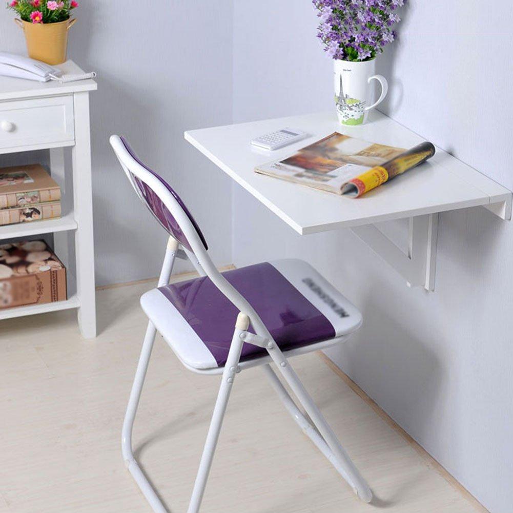 壁掛け式ドロップリーフテーブルダイニングウォールテーブル折りたたみ式スペースセーバーデスクFoldable 60 * 40cm 折畳式の (色 : 白) B07DGWDNJJ 白 白