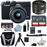 Canon EOS M100 Mirrorless Digital Camera (Black) With 15–45mm f/3.5–6.3 IS STM Lens + Deluxe Accessory Bundle - Includes EVERYTHING You Need To Get Started