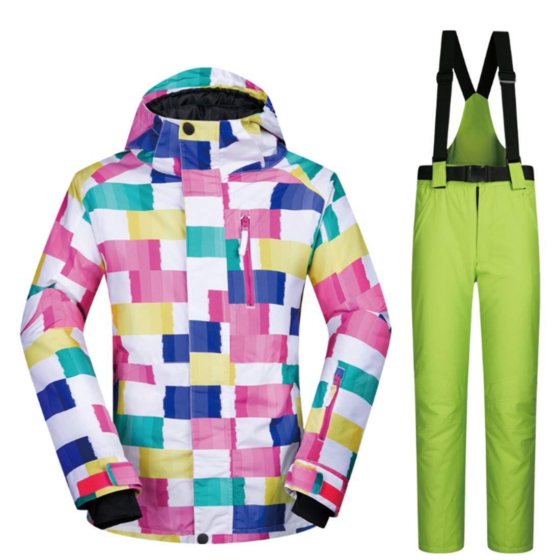 女性のスキージャケット防水 女性の防水スキージャケットとパンツ通気性の冬服スノーボードフード付きレインコート3-IN-1防水スキージャケット レディース冬の雪のジャケットレインコート (色 : 09, サイズ : L)  Large