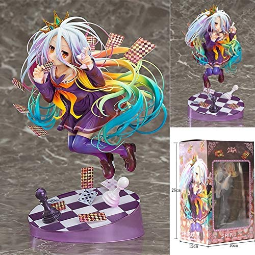 Anime Pretty Girl Playing Cards Handmade Model Otaku And Anime Fans Favorite Boxed Adult Toys Christmas Best Gift High 19CM Knmbmg NO GAME NO LIFE: Shiro PVC Figure