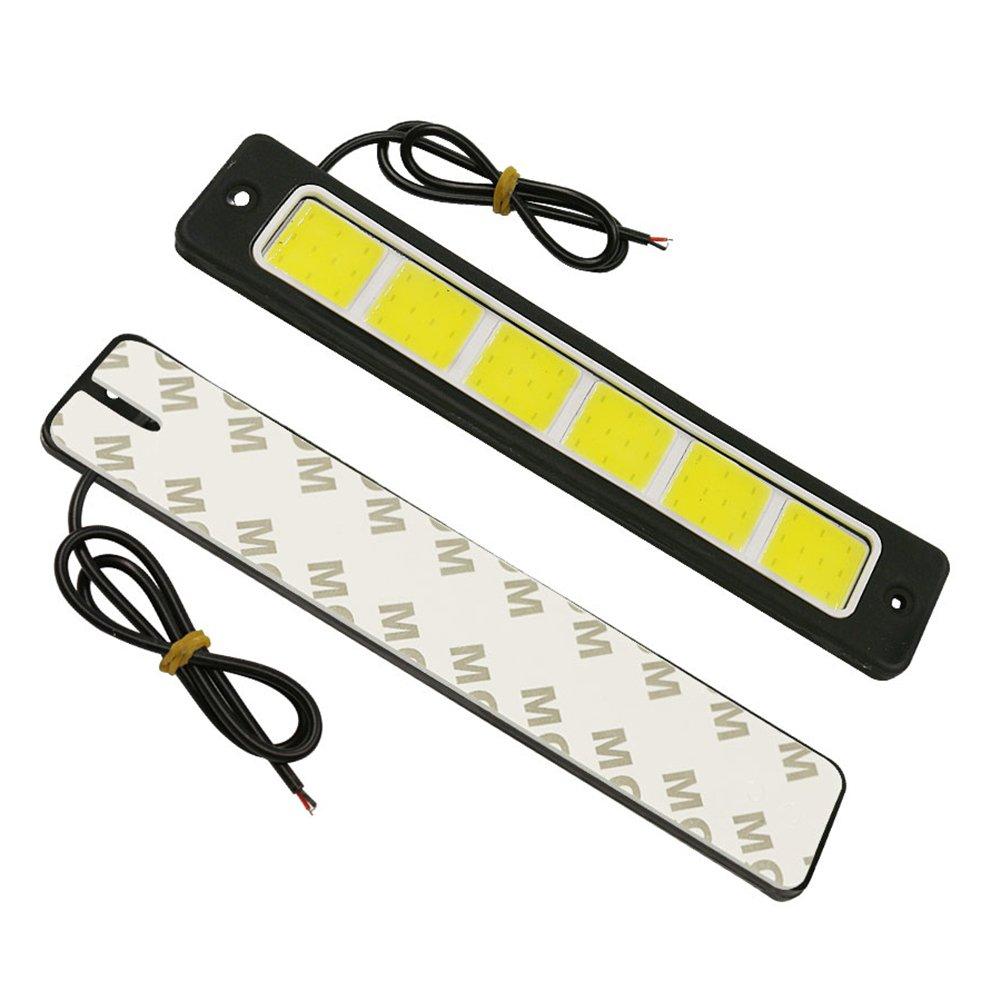 Led Voiture ampoule de brouillard ampoules Auto Voiture Conduite lampe Feux de course à pied pour auto étanche à la poussière COB LED DRL éclairage LED Blanc droites 2pcs Beimaji Trade
