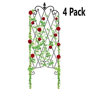 "Amagabeli 4 Pack Garden Trellis for Climbing Plants 47"" x 16"" Rustproof Black Iron Potted Vines Vegetables Vining Flowers Patio Metal Wire Lattices Grid Panels for Ivy Roses Cucumbers Clematis Support"