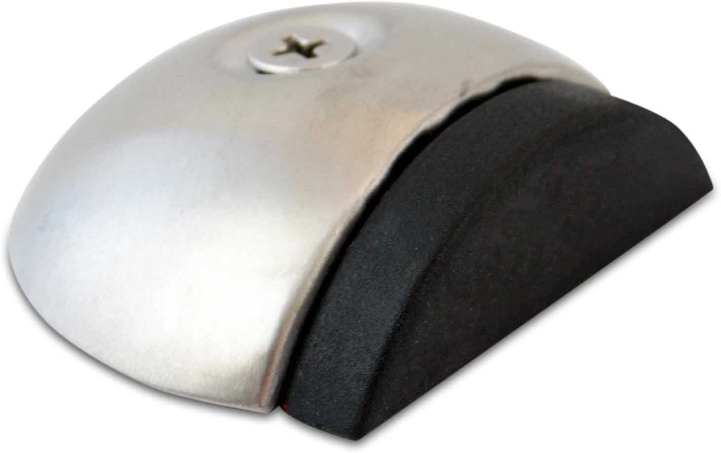 Stoppwerk Topes para puerta de acero inoxidable con goma TS011 - Tope de puerta para suelo con material de instalación - Tope puerta