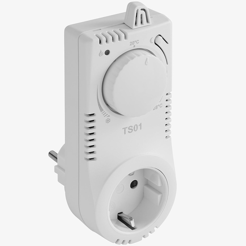Termostato electrónico para enchufe control de temperatura calefacción electrica - varios modelos - (TS01 | No. 402846): Amazon.es: Bricolaje y herramientas