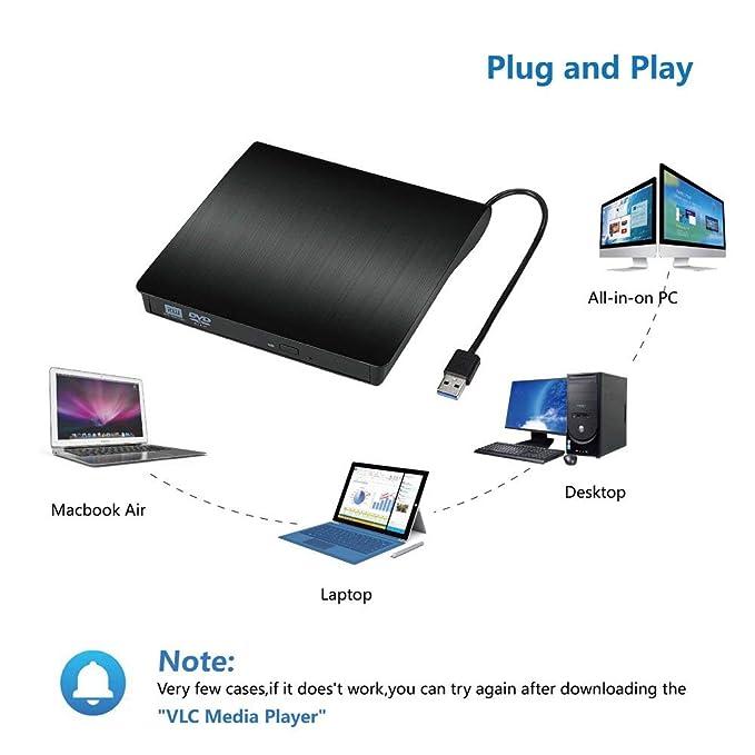 Reproductor Grabadora CD DVD Externo Portatil USB 3.0 Grabadora de Quemador Lector de CD DVD Externo Disco para PC Windows7/8/10,Linux,Mac OS