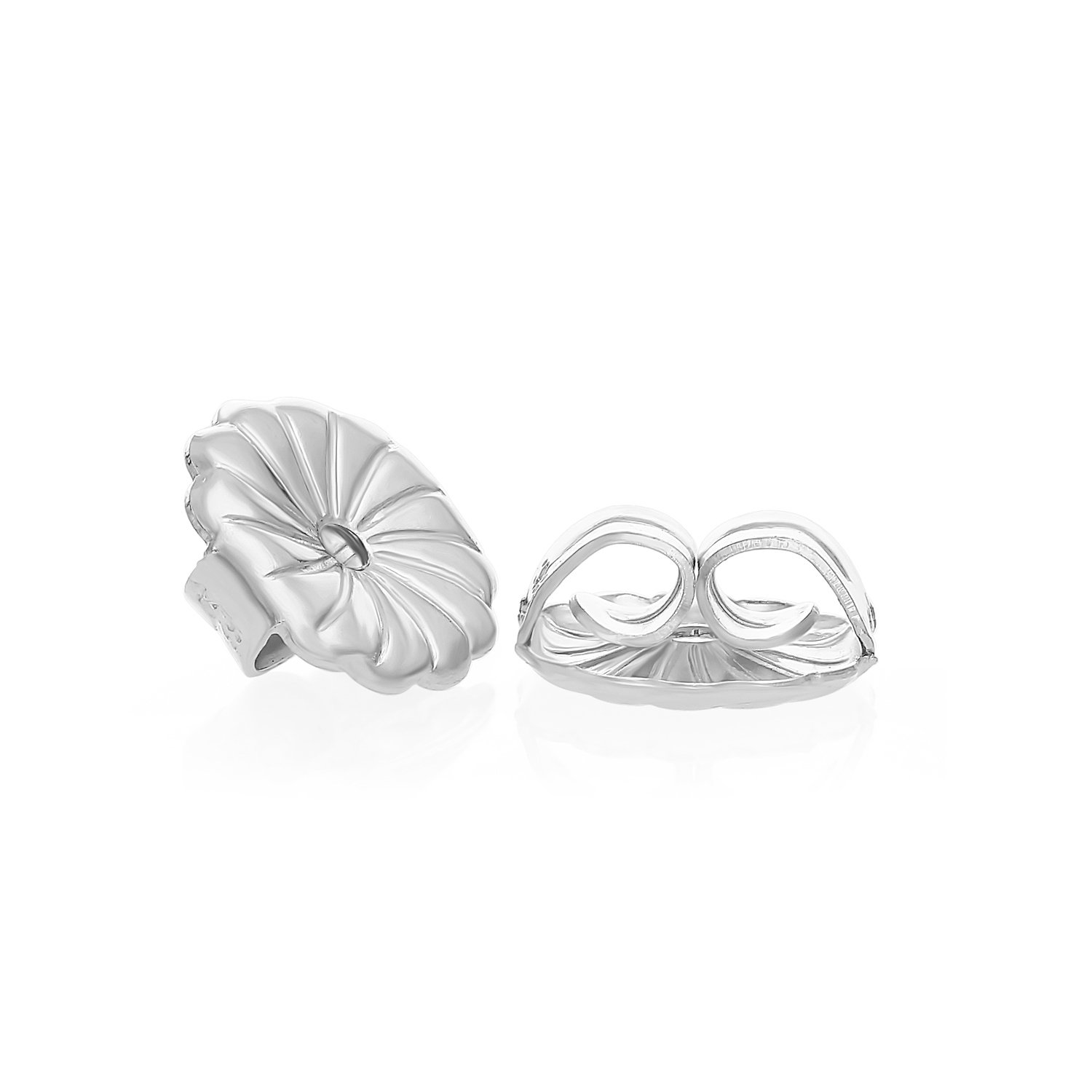 Art and Molly 14k White Gold Earring Back Replacement Secure and Comfortable with Ear Locking Tension Grip Tight Nut (Medium) by Art and Molly (Image #4)
