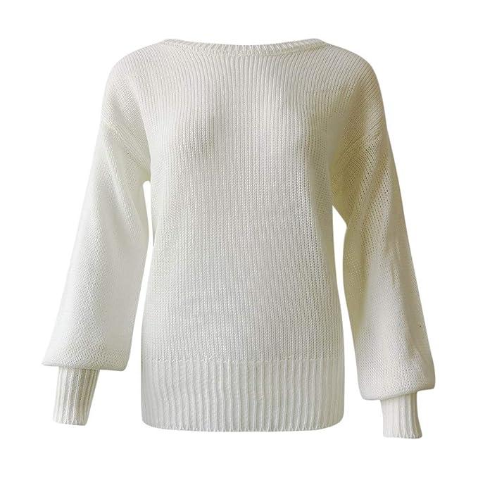 Yvelands Suéteres para Mujer Punto de Manga Larga con Manga Larga Wrap Delantero Suelto Jersey Jersey