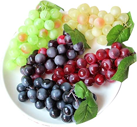 Amazon Com Chengsan Artificial Grapes 4 Bunches Of Green Yellow Purple Black High Simulation False Fruit Fake Decorative Kitchen Office And Photography Props Colors Dining