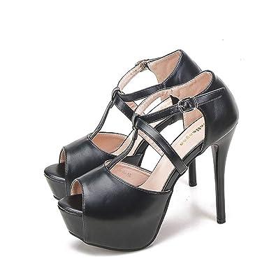 694a09696e616 パンプス 靴 レディース キャバ 結婚式 22.0cm アンクルストラップ ブラック サンダル オープントゥ 12cmヒール