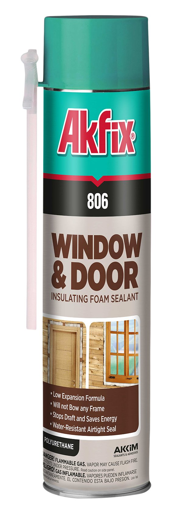 Akfix 806 Window and Door Insulating Foam Sealant, 24 oz. Straw Can, Low Expansion (Pack of 12)