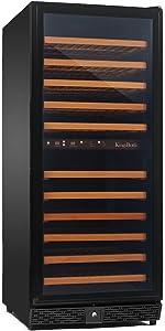 KingsBottle 120 Bottle Dual Zone Wine Cooler, Black