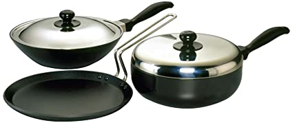 Hawkins Futura Nonstick Cookware Set 3, QS4 (Contains 3 Products and 2 SS Lids)
