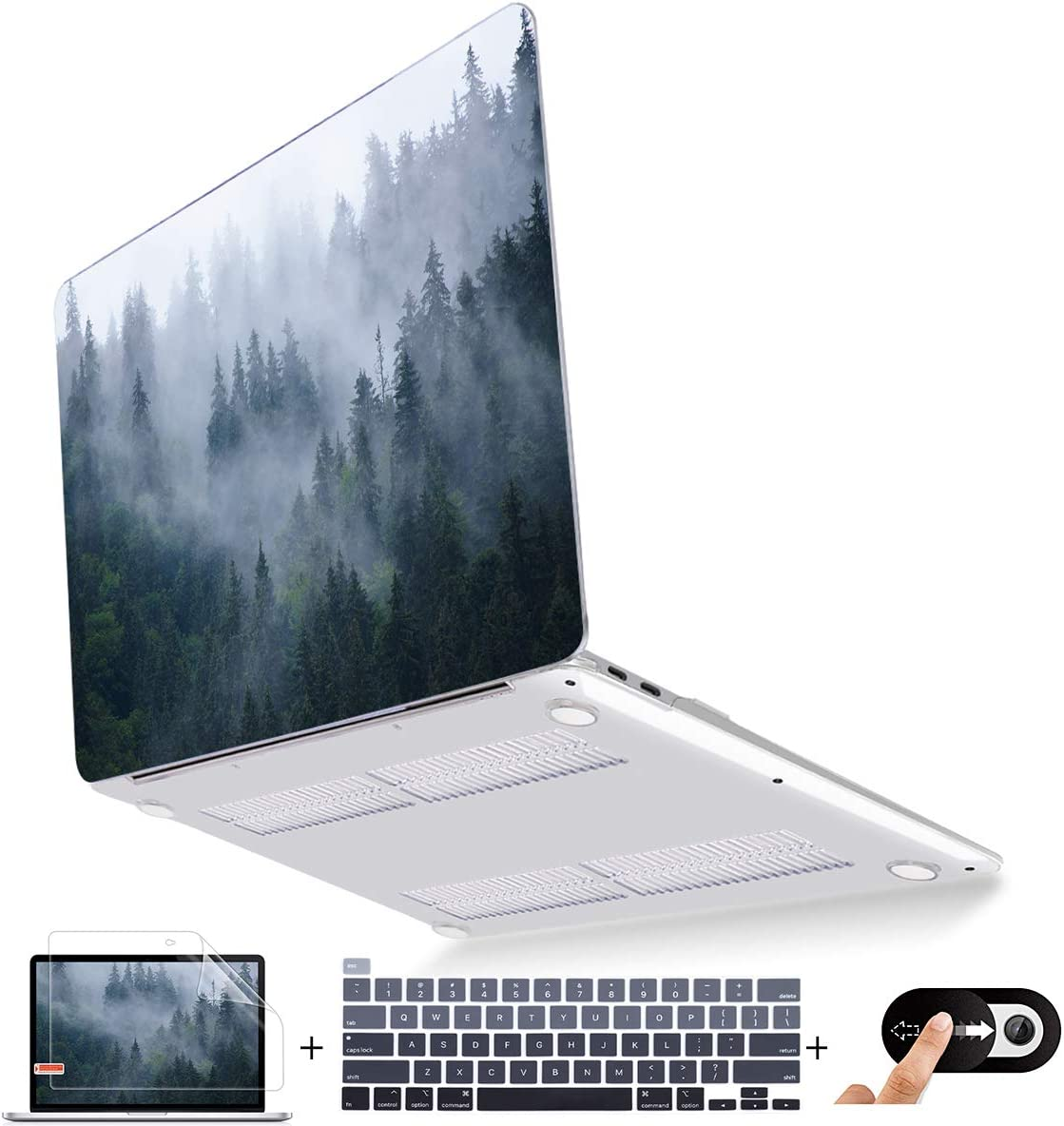 Mektron MacBook Pro 13 Cover A2289 A2251 2020 Release, Ultra Slim Laptop Hard Case Sheel w/Keyboard Cover Screen Protector Webcam Cover for 2020 Pro 13 inch Case, Fir Forest