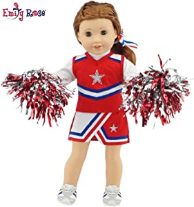 """Emily Rose 18 Inch Doll Clothes for American Girl Dolls   7 Piece USA Modern Doll Cheer Outfit, Including Gym Shoes and Pom-Poms!   Fits 18"""" Our Generation and Journey Girls Dolls"""