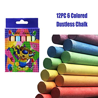 Funic 12Pcs Dustless Colored Chalk, Washable Sidewalk Chalk Classroom, Assorted Bright Colors for Kids, Classroom, Learning, Drawing, Create, Play, Non-Toxic: Toys & Games