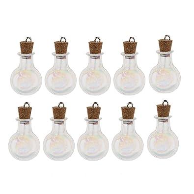 Baoblaze 10 Unids de Mini Botella de Vidrio Suministros de Joyería Organizador de Capasulas - Bola