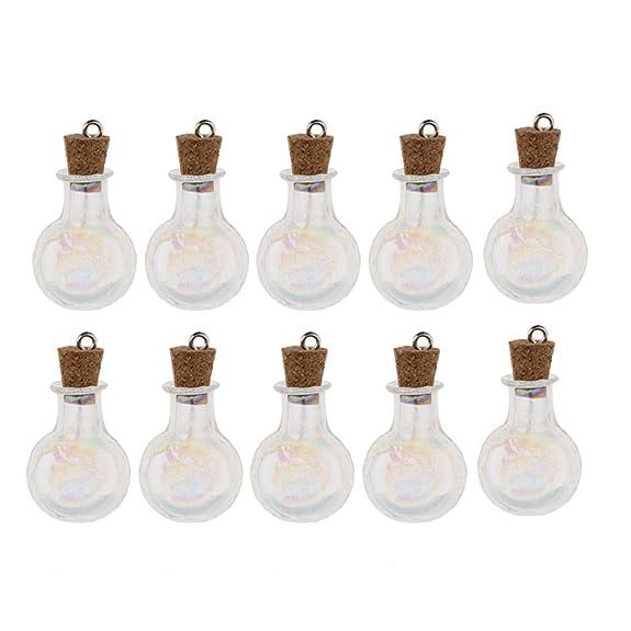 non-brand Sharplace 10 Pcs de Mini Botellas de Vidrio Accesorio de Almacenamiento de Perfume Suministros de Joyas - Bola redonda y plana: Amazon.es: Joyería