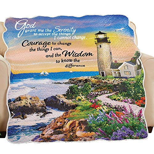 (Collections Etc Serenity Prayer Seaside Lighthouse Throw Blanket with Scalloped Edges - Spiritual Home Décor)