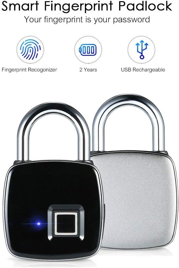 Smart Keyless Fingerprint Padlock USB Rechargeable Lock Home Door Suitcase  H1