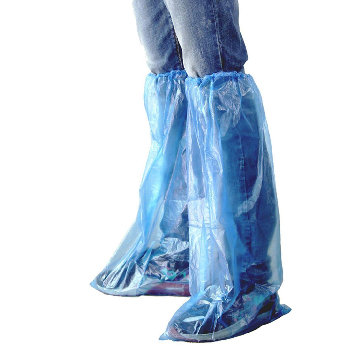 HUABEI 100 Pack Disposable Shoe Covers Blue Rain Shoes and Boots Cover Plastic Shoe Cover Clear Waterproof Anti-Slip Overshoe for Women Men Water Boots Cover Rainy Day Use