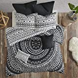 Urban Habitat Larisa Comforter Reversible Stripes 100% Cotton Shell Hand-Drawn Medallion Geometric Shape Print Soft Down Alternative Hypoallergenic All Season Bedding-Set, Full/Queen, Black