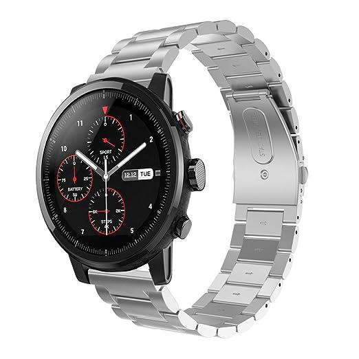 QuickZ Correa de Acero Inoxidable Reloj Banda Hebilla de Metal para HUAMI Amazfit Stratos 2