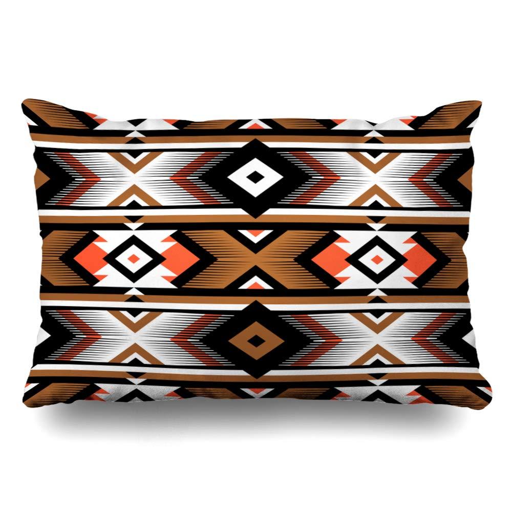 Ahawoso クッションカバー キングサイズ 特売 20x36 アメリカンオレンジ ペルー風 レトロカラー 部族 至上 ナバホ 抽象的 アラビア アフリカ 文化 B07RG812HV ファスナー付き ホームデコレーション クリエイティブ 枕カバー ヒッピー