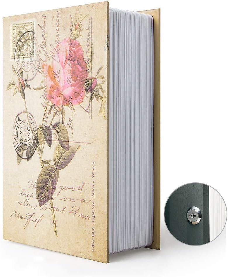 Diversion Book Safe Storage Box, Dictionary Secret Safe Can with Security Combination Lock/Key, Diversion Book Hidden Safe (Rose Style, M,Key)