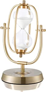 Hourglass Timer 60 Minutes Sand Timer: 12.6-Inch Large Brass Sand Clock, 360° Rotating Antique Sand Watch 60 Min, Vintage Metal 1 Hour Glass Sandglass Timer with White Sand for Desk, Office for Decor