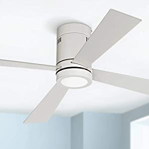 """52"""" Revue Modern Hugger Low Profile Ceiling Fan with Light LED Flush Mount Remote Control Opal White for Living Room Kitchen Bedroom - Casa Vieja"""