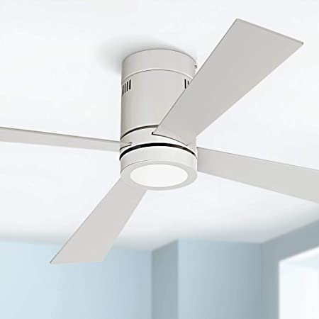 52 Revue Modern Hugger Low Profile Ceiling Fan with Light LED Flush Mount Remote Control Opal White for Living Room Kitchen Bedroom – Casa Vieja