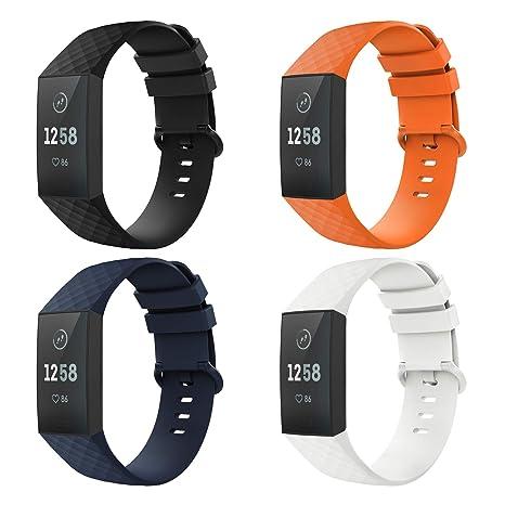 TiMOVO Pulsera Compatible con Fitbit Charge 3, [4-Pack] Pulsera de Silicona