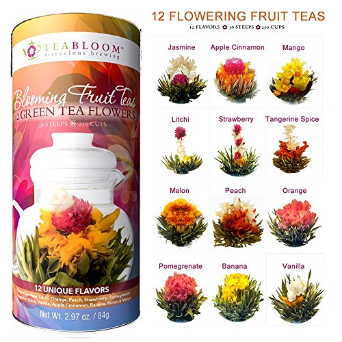 Flowers And Gifts (Teabloom Flowering Tea - 12 Different Fruit Blooming Tea Flowers - Fresh New Fruit Tea)