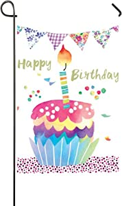 """Small Mim Happy Birthday Sweet Cake Candles Garden Flag Holiday Decoration Double Sided Flag 12.5"""" x 18"""""""