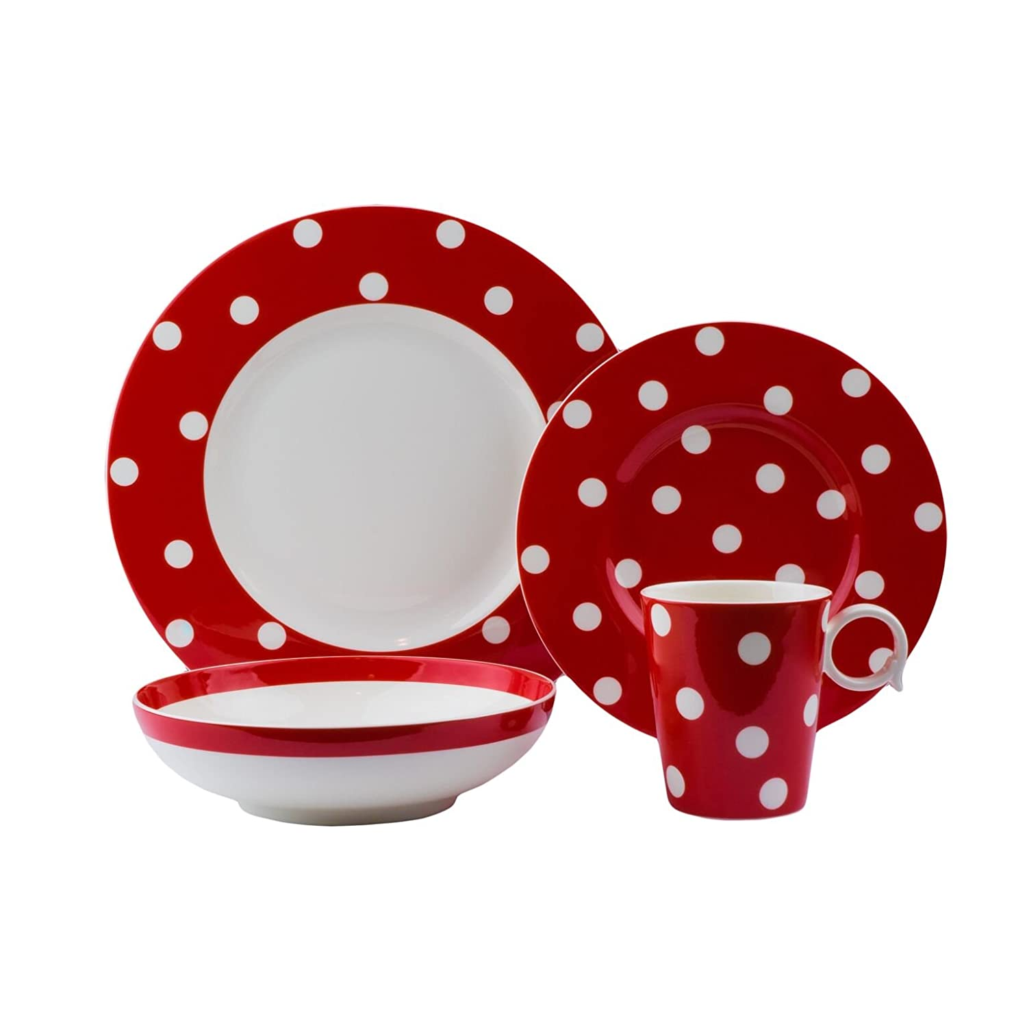 Red Vanilla FDR20-904C 4 piece Freshness Dots Place Setting with Coupe Bowl, Red