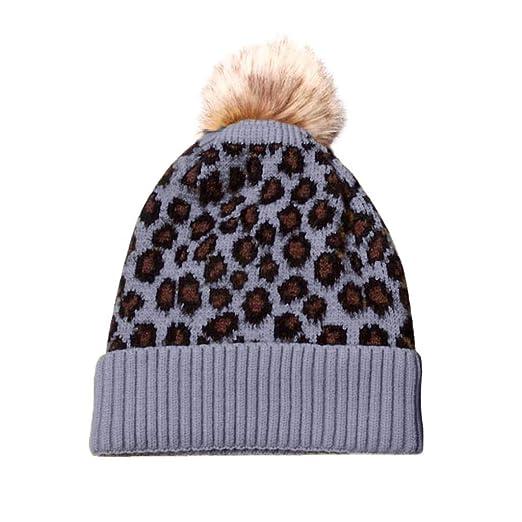 Smallrabbit Women Winter Hats Leopard Print Warm Fleece Lined Rib Knit  Beanie Cap with Fur Pompom 48056d275ac