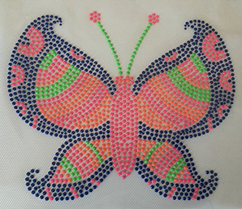 Butterfly Rhinestone Iron On Decal Heat Press Children T-Shirt (Neon Tutus For Sale)