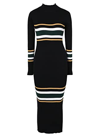 fc090e310d Amazon.com  futurino Women s Mock Neck Long Sleeve Striped Knit Sweater Midi  Bodycon Dress  Clothing