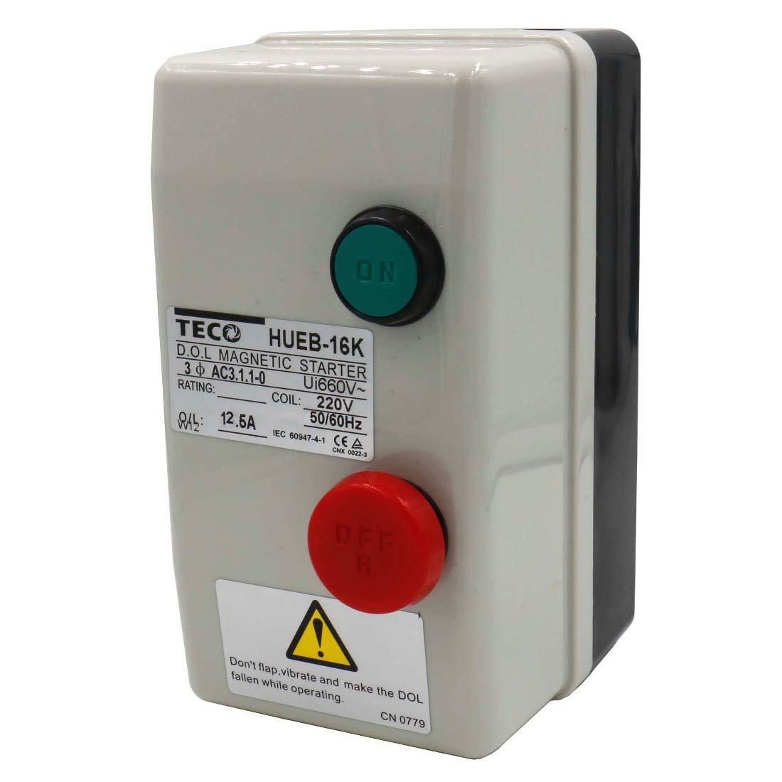 Baomain Magnetic Starter HUEB-16K AC 220V Coil 8.5-12.5A 3-Pole Push Button Control Motor