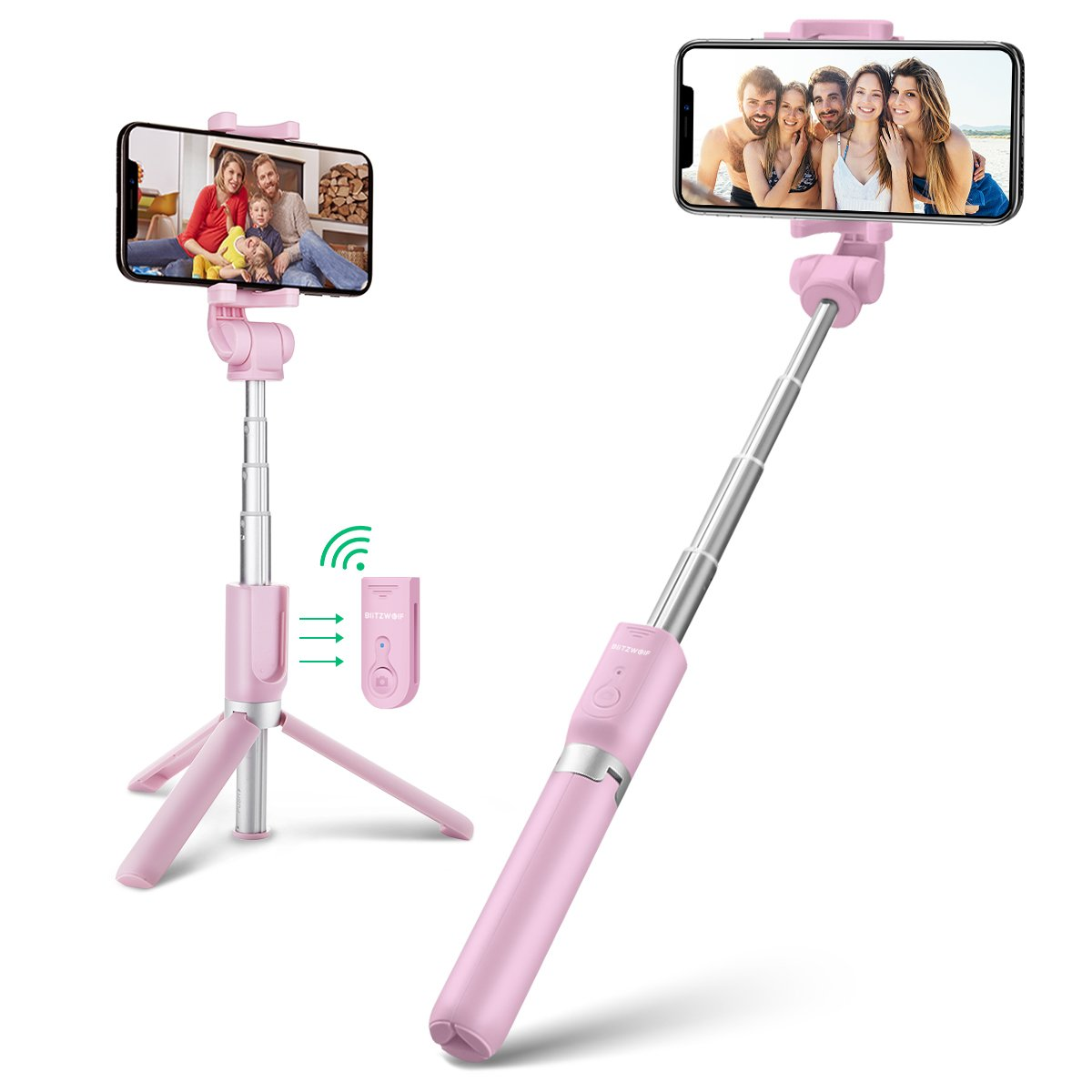 BlitzWolf Palo Selfie Trí pode con Control Remoto para iPhone Android Samsung Galaxy de 3.5-6 Pulgadas 3 en 1 Monó pode Extensible Mini Selfie Stick Bolsillo Inalá mbrico 360° Rotació n(Rosado) BW-BS3-P
