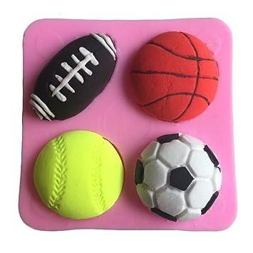 Karen Baking Forma Fútbol Baloncesto Tenis 3D de silicona pasta de azúcar del molde de la torta Rosa: Amazon.es: Hogar