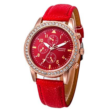 Relojes Pulsera Mujer, Xinan Relojes de Cuarzo de Cuero de Moda Banda Analógica (Rojo