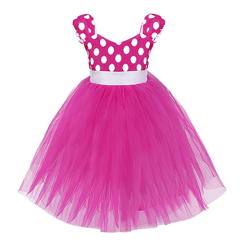 iEFiEL Babybekleidung - Baby Mädchen Kostüm Kleid Polka Dots Festlich Kleid für Geburtstag Party Fasching Kanerval (104-110, Rosa)
