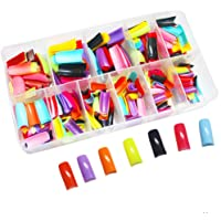 Vastitude 550PCS Colored Nail Tips Half Cover False Nail French Tips 12 Different Color Artificial False Nails Half Tips & Box