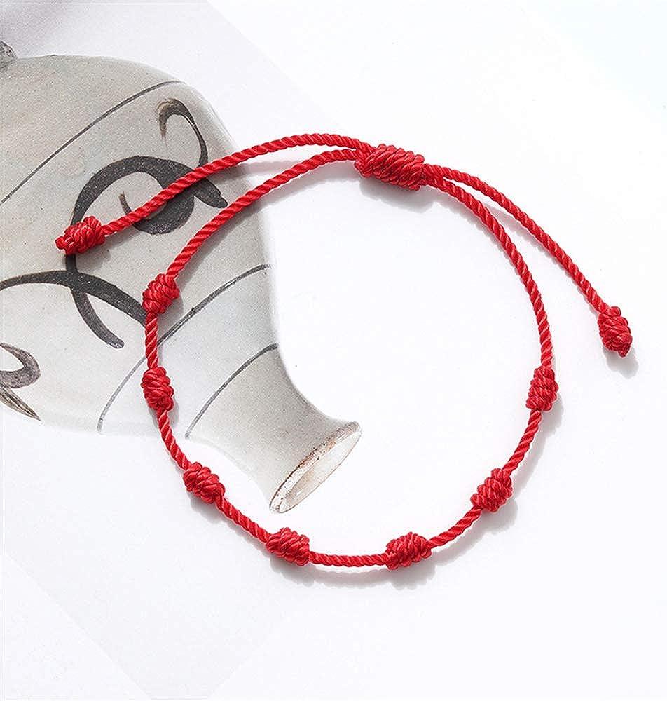 Friendship Bracelets for Women Men Teens Amulet for Success and Prosperity Handmade 7 Knots Red String Bracelet for Protection Evil Eye and Good Luck