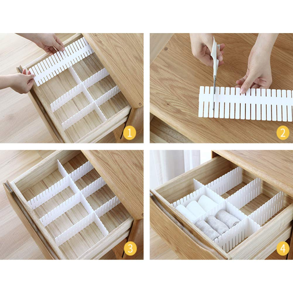 Blanco JSF Set de 12 Ajustable Organizador de Cajones DIY Separadores de Cajones 32.4x7 cm