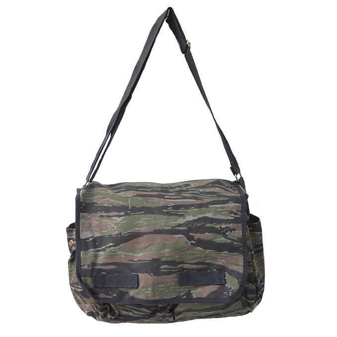 Vintage Tiger Stripe Camouflage Canvas Messenger Bag