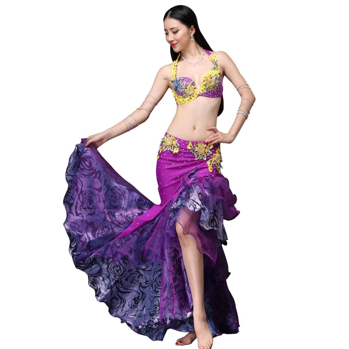 豪華なベリーダンス衣装セット 2点セットビーズ刺繍プロ仕様ダンス服 パープル 高級演出服 ブラ スカート B07HNZ6V68 XL