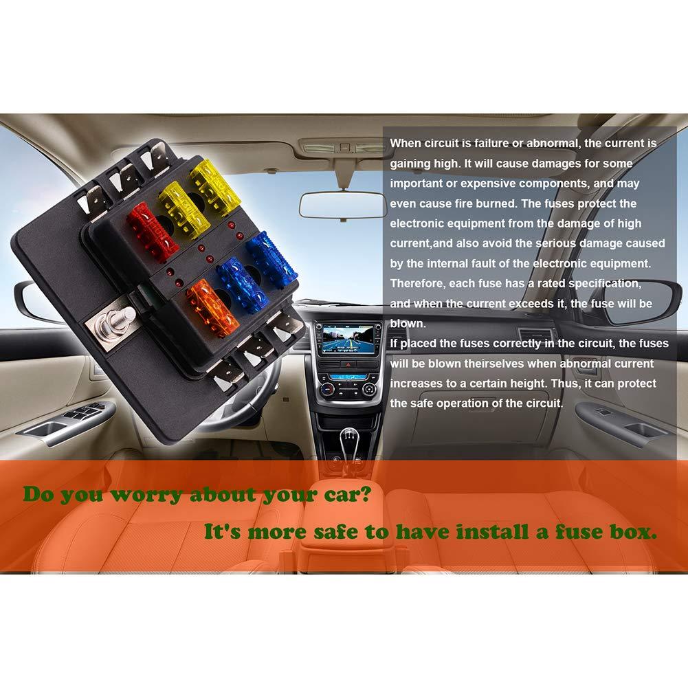 Portable 6//8//10//12-Way Blade Fuse Box Block Holder LED Indicator for 12V 24V Car Vehicle 1# Dandeliondeme Fuse Box Holder