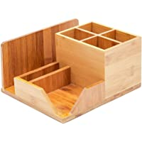 Bamboo Wood Desk Organizer with 7 Compartments (8 x 7.5 in.)